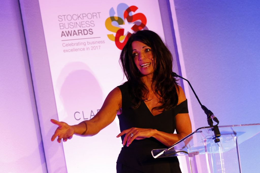 Jenny Powell presenting the Stockport Business Awards 2017